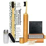 Juego de cepillos de dientes de bambú orgánico biodegradable | cepillos de dientes grabados con soporte de viaje, hilo dental de carbón, jabón de carbón y bastoncillos de algodón hechos de bambú