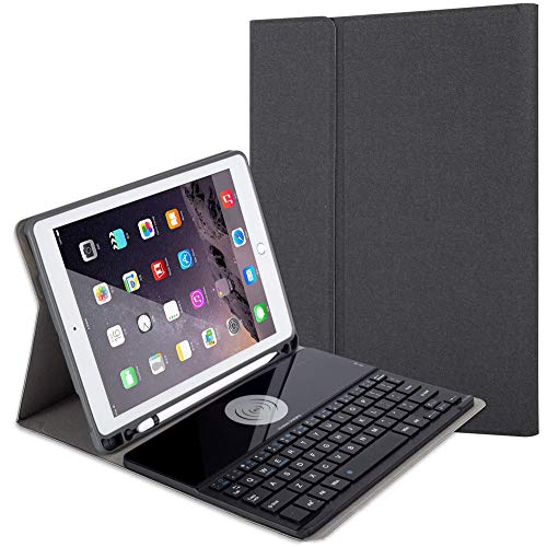 Ipad Keyboard Case for Ipad Air 3Rd Gen 10.5' 2019/ Ipad Pro 10.5' 2017 Support Wireless Charging Detachable Removable Bluetooth Keyboard with Pencil Holder,Black