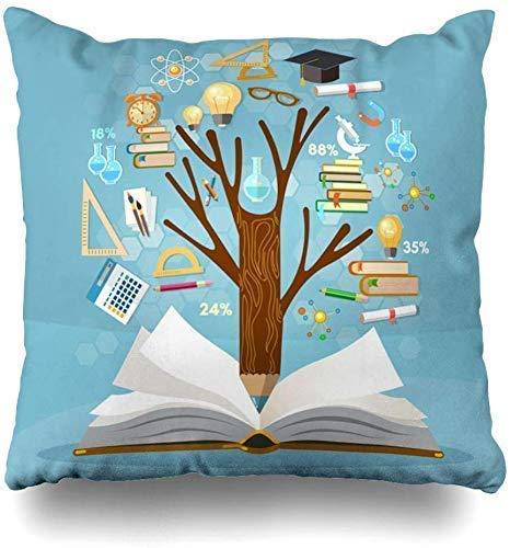 Federa per cuscino a forma di albero di matematica conoscenza libro aperto efficace università educare esami fisici informazioni matematiche apprendimento decorazione casa Chion federa 45 x 45 cm