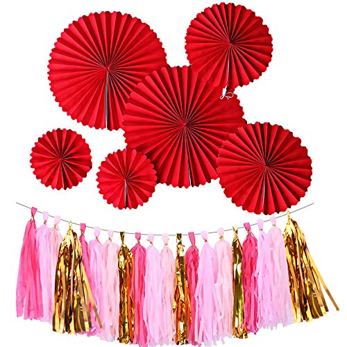 Party Decorations, Red Hanging Paper Fans, Colorful Fiesta Tassel Garland, 26PCS Mexican Party Supplies Wall Decor Paper Flower Decoration for Birthday Festival Wedding Engagement Graduation Party