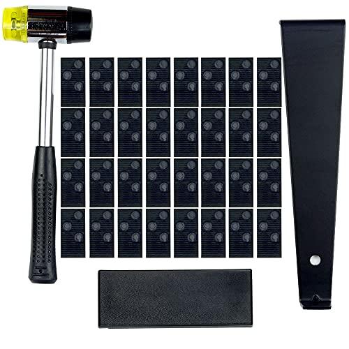 ASNOMY Kit de instalación profesional para suelos de madera laminada con 40 espaciadores, bloque de roscado mejorado, barra de tracción ancha de 12 pulgadas y mazo...