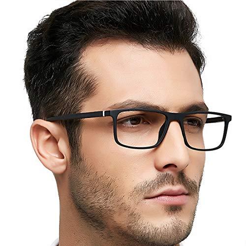 OCCI CHIARI Blue Light Filter Reading Glasses for Men Magnification 0 1.0 1.5 2.0 2.5 3.0 3.5 (Black, 1.0)