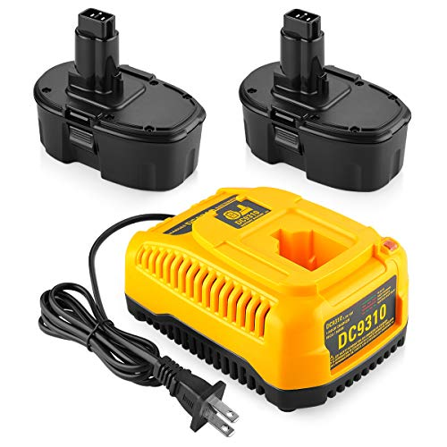 Energup 2Pack DC9096 Replacement Dewalt 18V XRP Battery DC9096 DC9099 DC9098 DW9099 DW9098 Dewalt 18Volt Batteries + DC9310 Dewalt Charger for Dewalt 7.2-18V Ni-Cad Ni-Mh 18V Dewalt Battery Charger