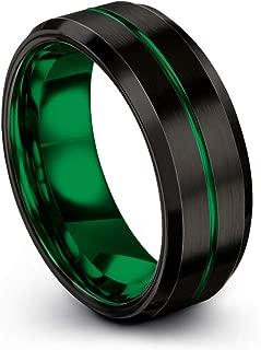 Tungsten Carbide Wedding Band Ring 8mm for Men Women Green Red Blue Purple Black Teal Copper Center Line Bevel Edge Brushed Polished