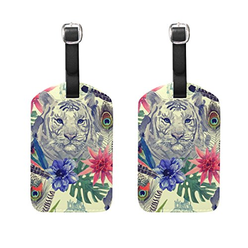 COOSUN Vintage Indian Style Tiger Head Pattern Luggage Tags Travel Labels Tag Name Card Holder for Baggage Suitcase Bag Backpacks, 2 PCS