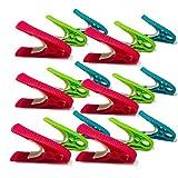 TenCloud Plastic Clothes Pins No Metal No Rust Clothes-Peg Clothespins Hangers Set of 18 Blue+Lime+Pink
