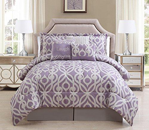 7 Piece King Laugh Lavender/Taupe Comforter Set