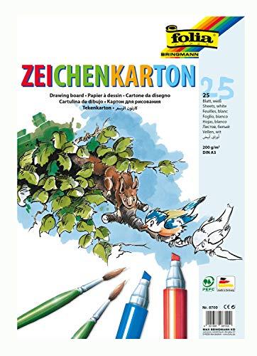 folia 8700 - Zeichenkarton, 200 g/qm, DIN A3, 25 Blatt, weiß - Zeichenpapier für vielfältige kreative Ideen