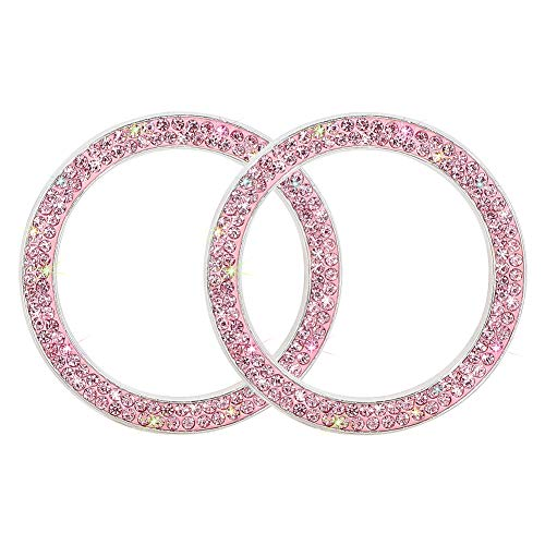 Bling Car Accessories SAVORI Crystal Rhinestone Emblem Sticker Ring Bling Car Decor Push to Start Button Ignition Ring Car Interior Accessories Cute Car Decals for Women Girl 2PCS (Pink)