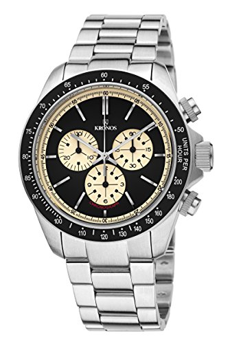 KRONOS - Vintage Sport Chronograph Black 985.8.55 - Reloj de Caballero de Cuarzo, Brazalete de Acero, Color Esfera: Black