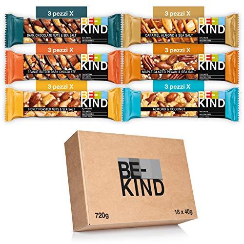 BE-KIND Barretta, Confezione Mista in 6 Gusti diversi, Snack Proteico Senza Glutine, 1 Confezione x 18 Barrette da 40 gr