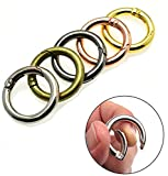 Round Carabiner Key Ring Spring Keyring Key Chain Buckle Locking Carabiners Hook Snap Clip,Multipurpose Metal O Rings, Buckle Trigger Round Snap Clips for Bags,Purses