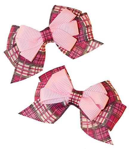 MuttNation Fueled by Miranda Lambert Rosa Karierte Hunde-Schleifen-Set für Hunde, 2 Schleifen, Einheitsgröße, Rosa   Bezaubernde und niedliche rosa Hundebekleidung & Zubehör für Haustiere