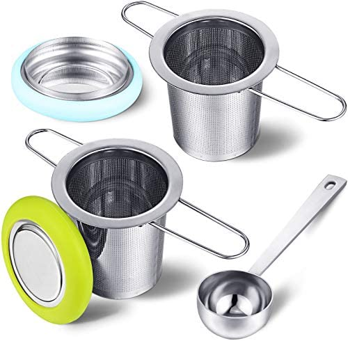 2 Pieces Tea Infusers with Tea Scoop Stainless Steel Tea Strainer Folding Handle Tea Filter product image