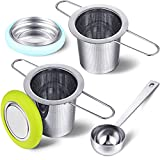2 Pieces Tea Infusers with Tea Scoop Stainless Steel Tea Strainer Folding Handle Tea Filter Fine Mesh Strainer Brewing Basket with Silicone Lid for Loose Leaf Tea