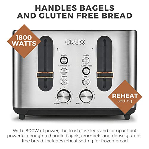 Crux CRUX007 Stainless Steel 4 Slice Toaster-6 Settings-Extra Wide Slots for Bagels & Thick Bread-Gluten Free Option…
