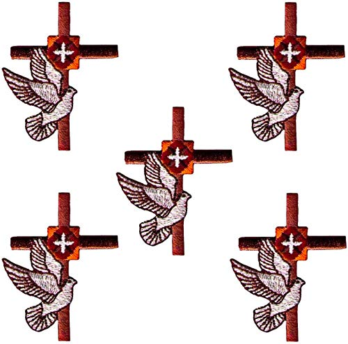 5 Pack of Cross with White Dove Patches Embroidered Patch Applique Embellishments for Clothing, Jackets, Backpacks, and Decorations