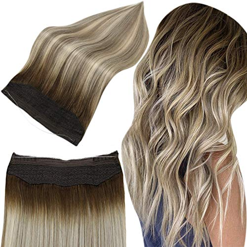 Full Shine Halo Human Hair Couture Hidden Crown Secret Hair Extensions 18 Inch Real Human Halo Brown Balayage Dark Brown 3 Fading To 8 Light Brown Highlight Blonde 80 Grams Invisible Fish Wire