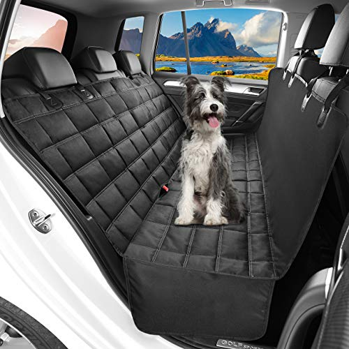 OMORC Dog Car Seat Cover Waterproof & Nonslip Back Seat Cover for Dogs with Side Flaps Durable DogHammock with Seat AnchorsMachine Washable 3in1 Car SeatProtector Boot Liner DogTravel Hammock for Cars