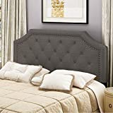 HOME BI Contemporary Linen Fabric Upholstered Headboard Full/Queen Size with Nailheads (S, Dark Grey)
