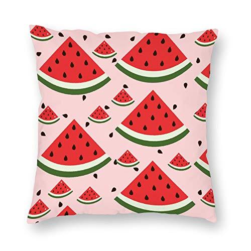 No Brands Kissenbezug, doppelseitiger Druck, Cartoon-Motiv, süße rote Wassermelone, kurzer Plüsch mit verstecktem Reißverschluss, bequem, quadratisch, für Schlafzimmer, Sofa, 45,7 x 45,7 cm