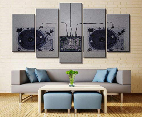 ACCEY 5 Panel Musik DJ Konsole Instrument Mixer Leinwand Gedruckt Malerei Für Wohnzimmer Wandkunst Wohnkultur HD Bild Kunstwerke Poster @ 40X60_40X80_40X100cm_Framed