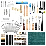 LOSCATO 298 Pieces Leather Working Tools and Supplies, Leather Craft Stamping Tools with Cutting Mat, Hammer, Scissors, Rivets Kit, Stitching Wheels and Punch Tools for DIY Leather Craft