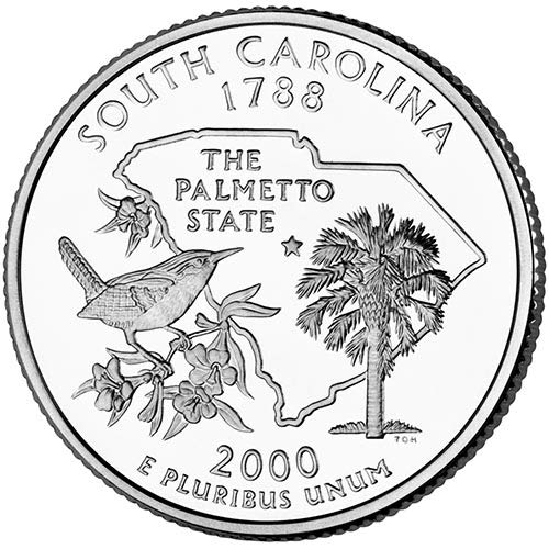 2000 S Silver Proof South Carolina State Quarter Choice Uncirculated...