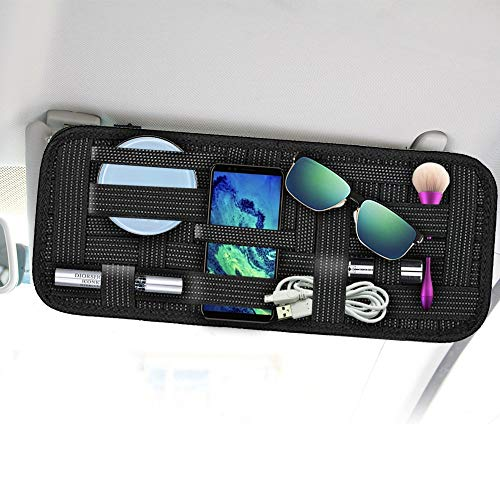 SourceTon - Organizer per aletta parasole auto, in tessuto elastico, antiscivolo, per occhiali da sole, parcheggio, carta carburante, accessori digitali, 2 pezzi