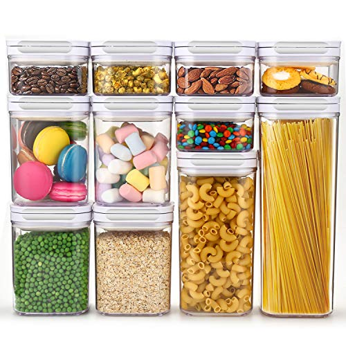 Airtight Food Storage Containers with Lids 11 Piece Set - Air Tight Snacks Cereal Pantry & Kitchen Container - Clear Plastic BPA-Free - Keeps Food Fresh & Dry - Patented Lid-Lock Mechanism