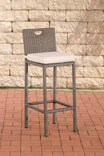 CLP Outdoor-Barhocker Mari Mit Sitzkissen I Polyrattan-Tresenstuhl Mit Fußstütze I Thekenhocker Mit 75 cm Sitzhöhe, Farbe:grau, Polsterfarbe:Cremeweiß