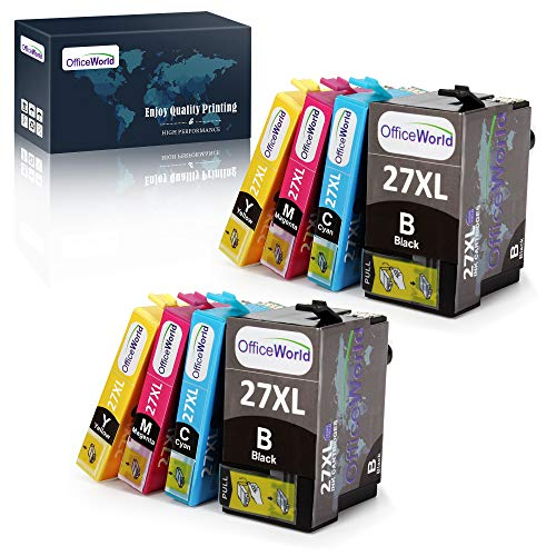 OfficeWorld Sostituzione per Epson 27 27XL Cartucce d'inchiostro Compatibili per Epson WorkForce WF-7610DWF WF-7620DTWF WF-3640DTWF WF-3620DWF WF-7110DTW WF-7210DTW WF-7710DWF WF-7715DWF WF-7720DTWF
