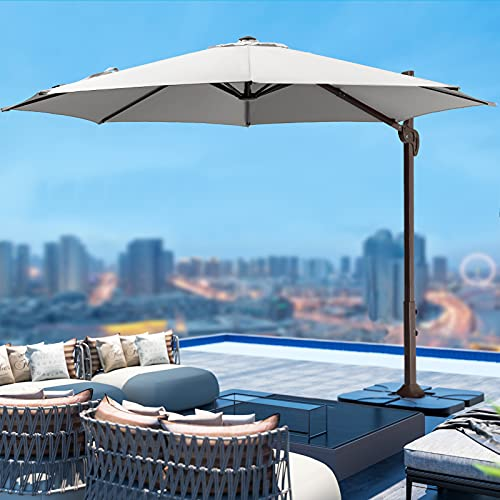 JEAREY 10 FT Round Deluxe Patio Umbrella Offset Hanging Umbrella Cantilever Patio Umbrella Outdoor Market Umbrella Garden Umbrella
