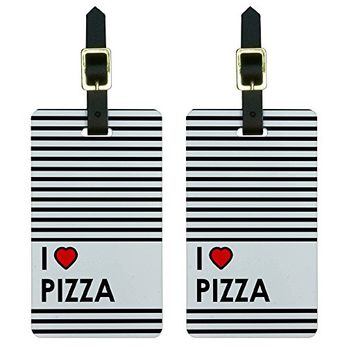 Graphics & More I Love Heart Pizza Luggage Tags Suitcase Carry-on Id, White