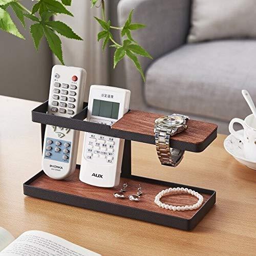 Decoración del hogar Soporte del mando a distancia Soporte de madera de hierro vidrios de reloj Caja de almacenamiento de escritorio de oficina organizador de la joyería de almacenamiento en rack esta
