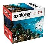 EXPLORER - Papel blanco multiusos para impresora - A4 110gr - 8 paquetes - 2000 folios