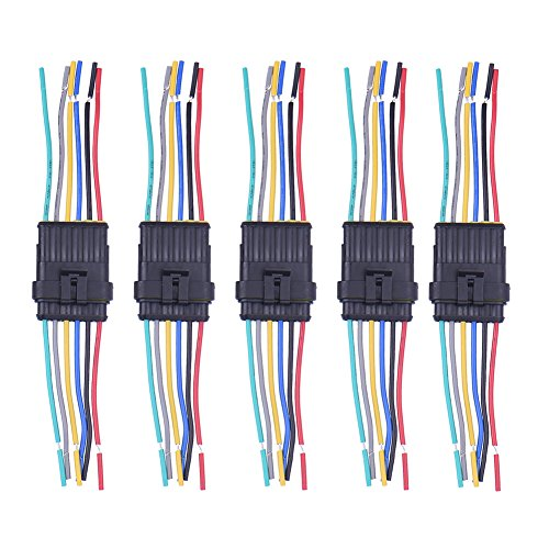 Cather Store 6 Pin Way Car Auto Waterproof Electrical Connector Plug Socket Kit with Wire AWG Gauge Marine Pack of 5