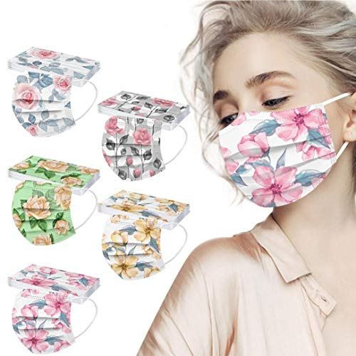 POTTOA 50pcs Floral Disposable Face_mask. with Designs for Women Girls Adults Cute Colored Paper_Face_mask for Coronɑvịrus Protection Breathable 3 Layers with Nose Wire for Outdoor (50, 5 Color #3)