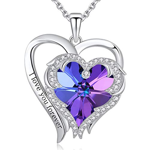Yasvitti Blue Angel Wing Heart Necklace for Women I Love You Forever Love Necklace Embellished with Crystal from Swarovski Fashion Jewelry Birthday Gift for Women Y004SB