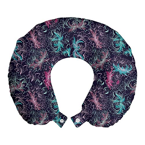 ABAKUHAUS Abstract Reiskussen, Floral Outline Tekeningen, Reisaccessoire met Geheugenschuim voor Vliegtuig en Auto, 30 cm x 30 cm, Dark Purple Multicolor