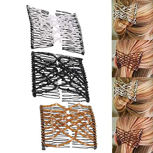 Gofypel Magic Hair Combs Vintage Bead Stretchy Magic Clips Double Hair Clip Women Girls Hairpins Crystal Stretch Pearls Hair Accessories Hair Jewelry Hair Styling Decoration 3pcs