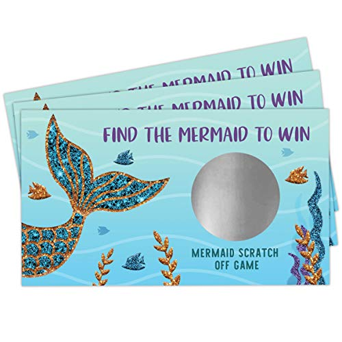 Mermaid Scratch Off Game - Mermaid Baby Shower Girls Birthday Party Activity - 28 Lottery Ticket Raffle Cards