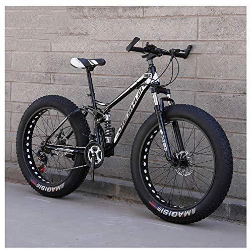 QIMENG 24' Wheel Mountain Bike 7/21/24/27 velocità Mountain Bike Fat Tire per Adulti Beach Motoslitta Biciclette Telaio in Acciaio Ad Alto Tenore di Carbonio Biammortizzata,K,27 Speed