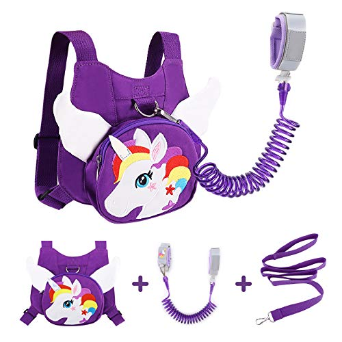 Toddler Leash Harness + Anti Lost Wrist Link, Accmor Unicorn Kids Leash Harness Wrist Leashes, Child Walking Harness Wristband Assistant Strap Belt for Baby Girls (Purple)
