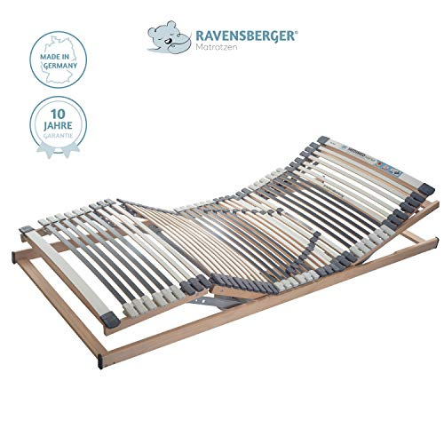 RAVENSBERGER MEDIMED® 44-Leisten 7-Zonen-BUCHE-Lattenrahmen | Elektrisch | Made IN Germany - 10 Jahre GARANTIE | Blauer Engel - Zertifiziert | 100 x 200 cm | Kabel-Fernbedienung