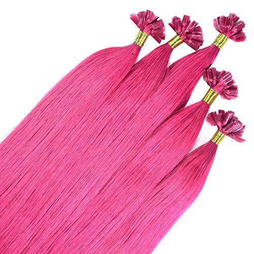 hair2heart Premium 50 x 0.8g REMY Echthaar Bonding Extensions, glatt - 50cm - #pink
