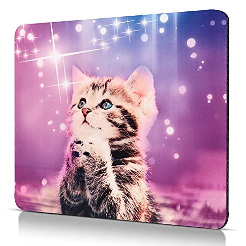 CHUQING Petit tapis de souris, carré, antidérapant, pour ordinateur, motif chat, 240 x 200mm