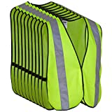 Safety Vest with High Visibility - 2 Inch Reflective Strips, Bright Neon Yellow, Breathable Polyester Mesh Fabric, ANSI ISEA Class Unrated, Hi Viz All Day and Night (10 Pack - XL-XXXL)