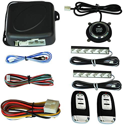 3T6B Passive Keyless Entry System PKE Engine Starter Push Button Vehicles Start/Stop Kit Safe Lock with 2 Smart Key