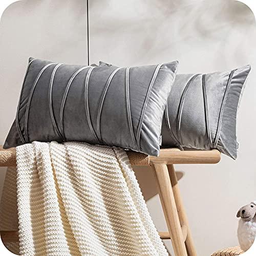 Topfinel 2 Juegos Hogar Cojines Terciopelo Suave Decorativa Almohadas Fundas de Color Sólido para Sala de Estar sofás 30x50cm Gris